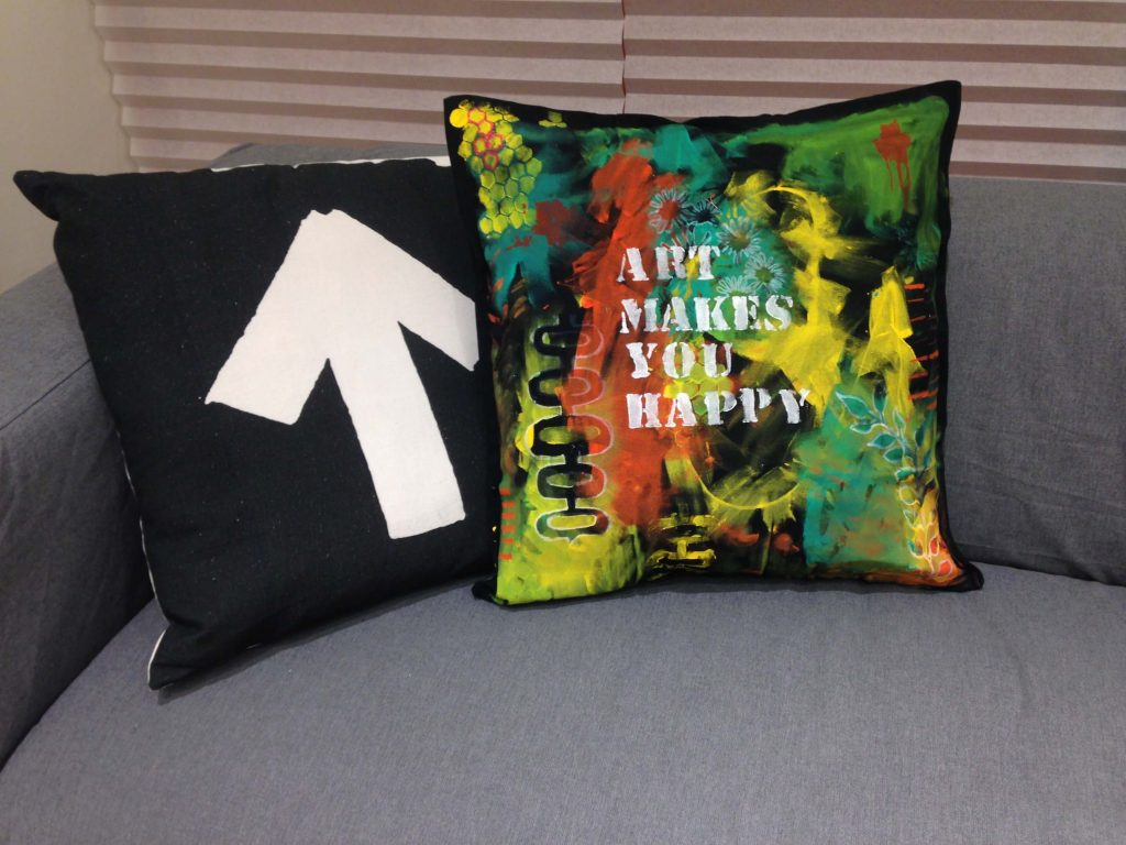 Acrylic paint on pillow