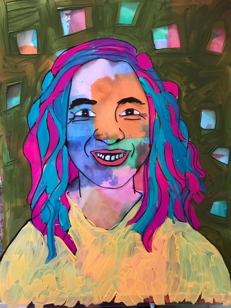 self portrait on a transparency
