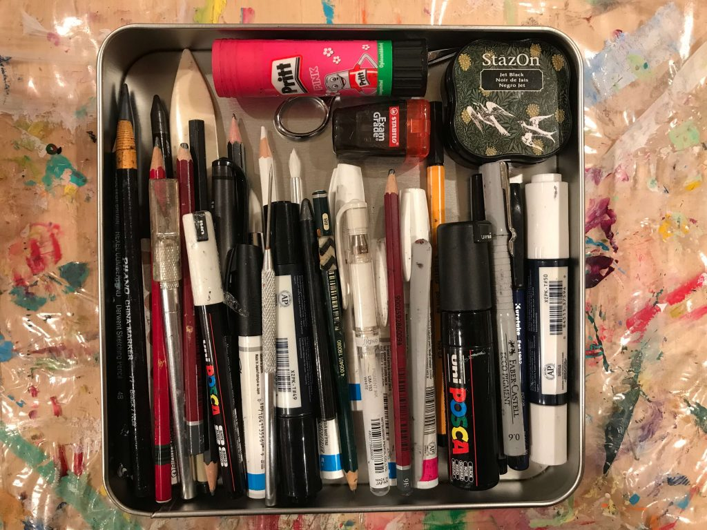 Organizing art journaling supplies