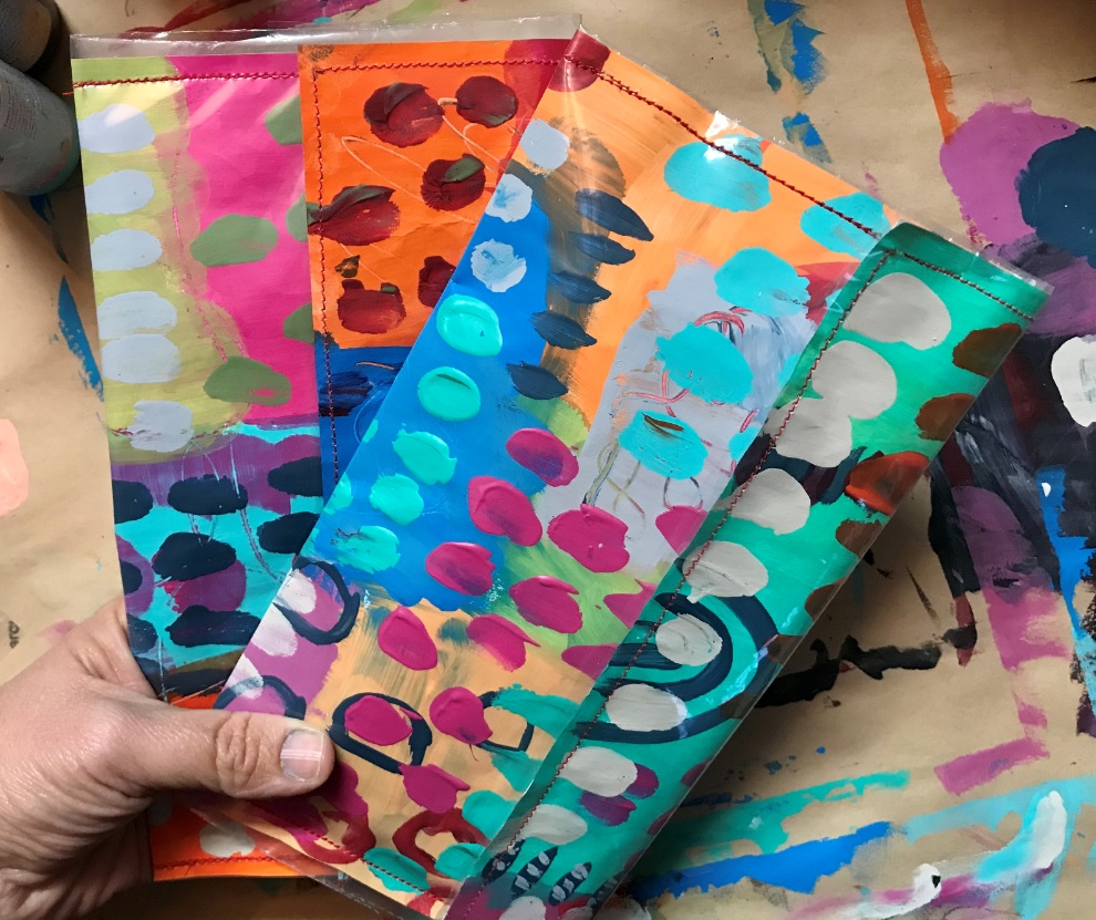 Painted paper purses